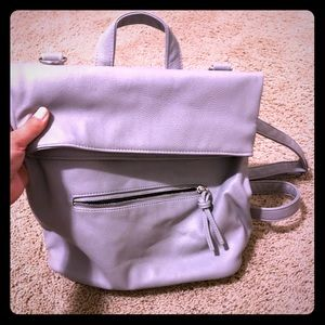 Leather backpack gray / grey